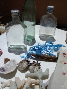 Washed up bottles and fisherman's netting